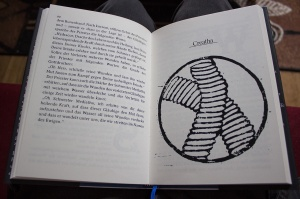 Die rechte Seite zeigt den Beginn des nächsten Kapitel (recto), auf der linken Seite mündet das vorige Cover (verso).