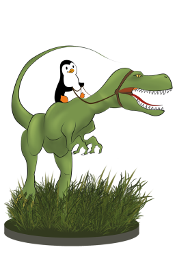 Pinguin reitet Dino web